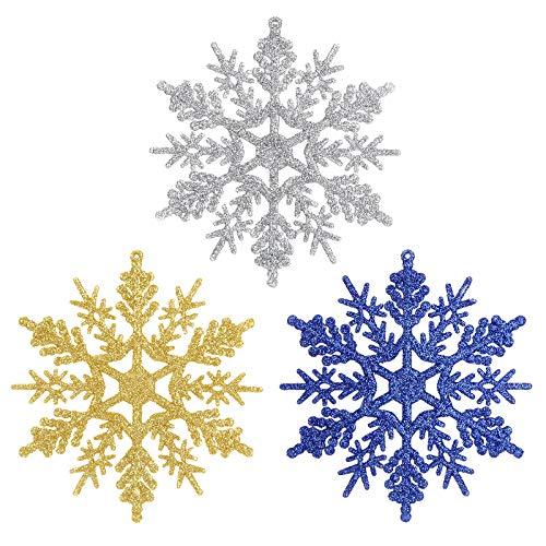 Aitsite 12pcs de Adornos Copos de Nieve con Purpurina, 4 Pulgadas para Adornos de Navidad Copos de Nieve Decoracion de Navidad Bodas Fiestas (4 Dorados+4 Plateados+4 Azul Oscuro)