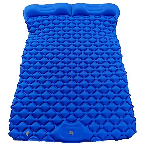 freneci Alfombrilla de Camping Doble, colchón de Aire Inflable para Dormir con Bomba para 2 Personas, compacta y Ligera para Senderismo, mochilero, Tienda de - Azul Marino