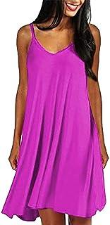 Women Spaghetti Strap Midi Dress Sexy Summer Solid Mini Beach Sundress Casual Plain Swing Plus Size Holiday Dress