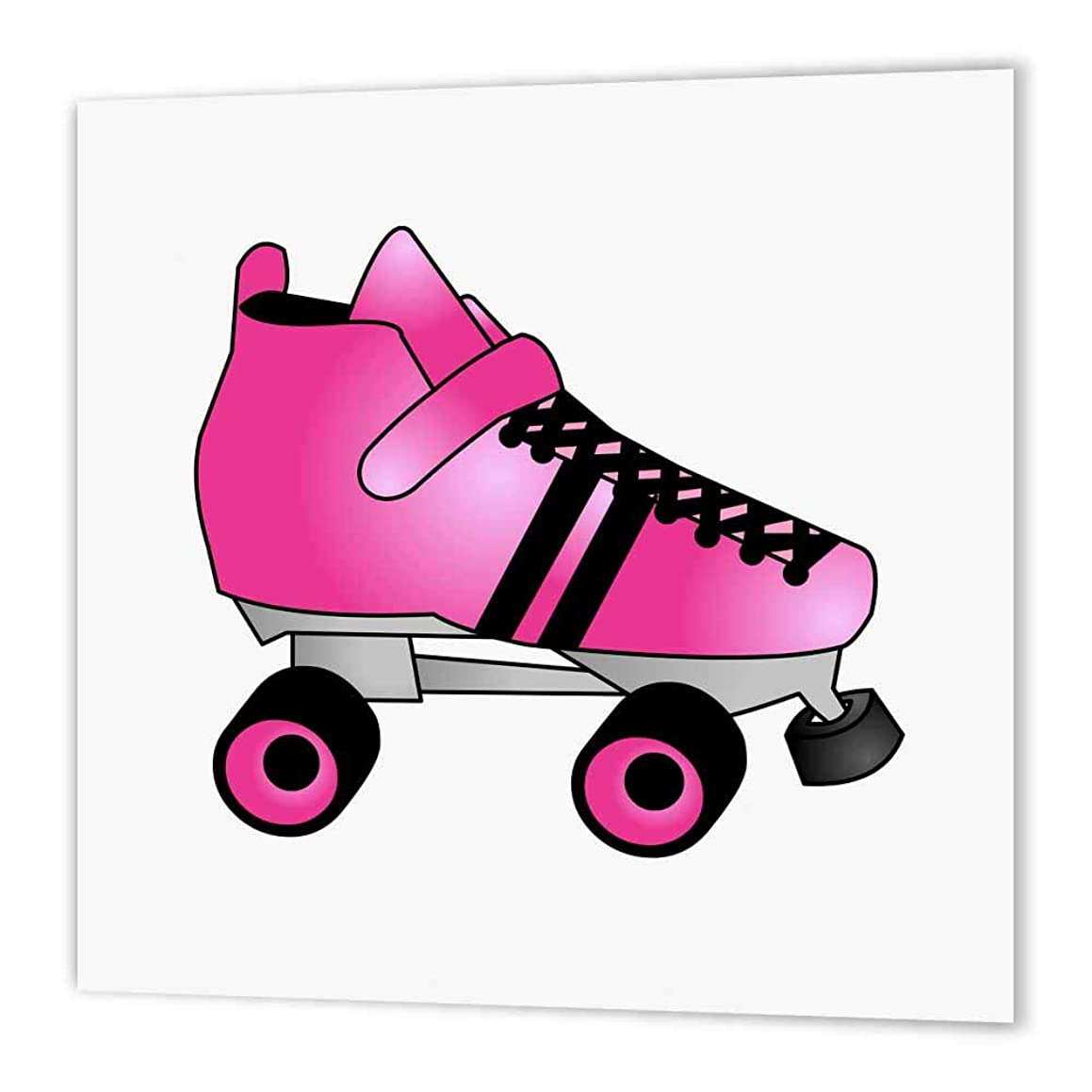 3dRose Skating Gifts-Pink and Black Roller Skate-Iron on Heat Transfer, 10 by 10