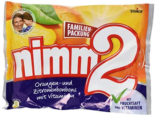 nimm2 – Kleine Süßigkeiten-Bonbons mit flüssigem Kern aus Fruchtsaft und reichhaltigen Vitaminen für Kinder und Erwachsene – (429g Beutel)