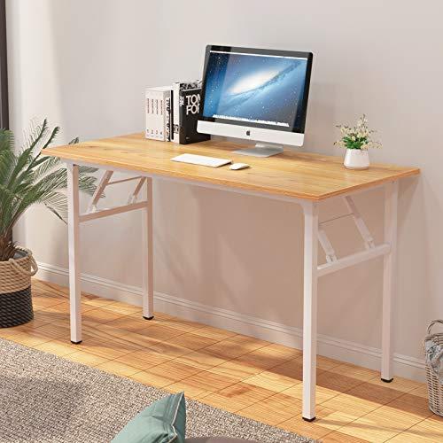 sogesfurniture Schreibtisch Klapptisch, 120x60cm Computertisch Bürotisch Konferenztisch Arbeitstisch PC Tisch Klappbar für Zuhause, Büro, Picknick, Garten, Teak&Weiß BHEU-LP-AC5YW-120