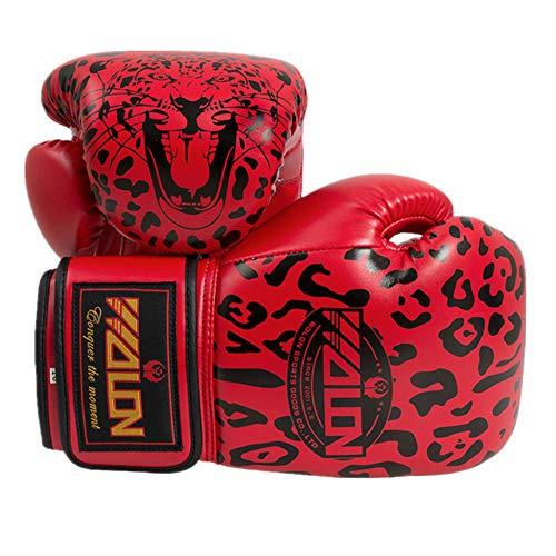 AUGYM Boxhandschuhe Sparring Profi-Leopard-Muster MMA Muay Thai Kickboxen Training Kampf Schlags-Handschuhe Schutzlederhandschuhe für Erwachsene,Rot