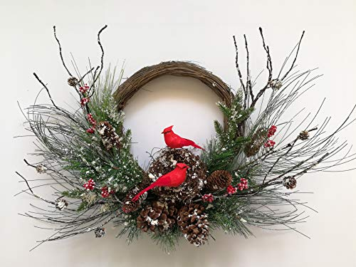 Xmas Arts& Crafts 20' Christmas Red Birds Wreath with Bird Nest Perfect for Door Wall Festival Decoration