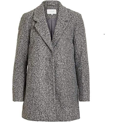 Vila NOS Damen Mantel Trenchcoat Winterparka Herbst Jacke Parka Herbstjacke Noos Coat Langarm Long Jacket (42, 52629 Medium Grey Melange)