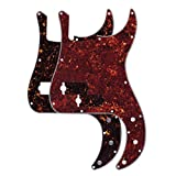 FLEOR 4Ply P Bass Pickguard Guitar Pickguard Scratch Plate for UAS/Mexican Made Standard Precision Bass Pickguard Replacement, 2pcs Red/Brown Tortoise