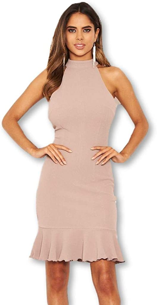 AX Paris Women's Cut in Neck Bodycon Frill Hem Dress