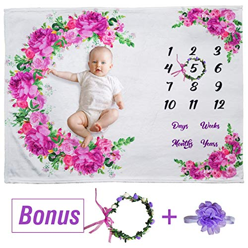 "Your Best Buyz Floral Monthly Baby Milestone Blanket - 51"" x 40"" Large Polyester Extra Soft-Photography Backdrop Baby Blanket for Baby Girl Gifts 