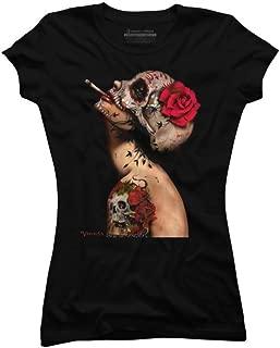 Design By Humans Viva La Muerte Juniors' 2X-Large Black Graphic T Shirt