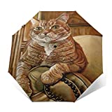 SUHETI Paraguas automático de Apertura/Cierre,Pintura al óleo de Arte Moderno,un Gato Amarillo descansando en el...