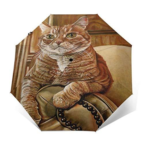 SUHETI Paraguas automático de Apertura/Cierre,Pintura al óleo de Arte Moderno,un Gato Amarillo descansando en el sofá,Paraguas pequeño Plegable a Prueba de Viento