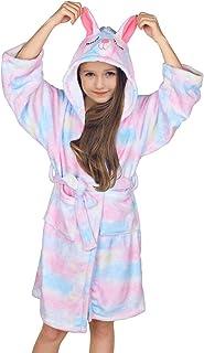 FIOBEE Girls Robe Fleece Bathrobe Girls Hooded Sleepwear Kids Flannel Robe for Party