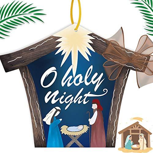 Funnlot Nativity Door Hanger Christmas Front Door Sign O Holy Night Door Hanger Christmas Door Wreath Waterproof Christmas Door Hanger Decor For Home Fireplace Holiday Front Door Christmas Decorations