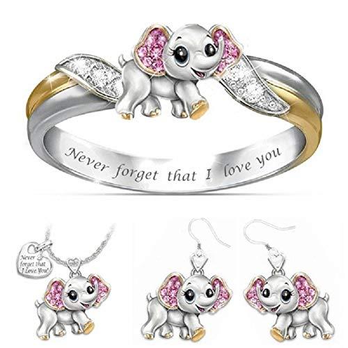 #NA Exquisita Plata Lindo Elefante Rosa Cristal Diamante Anillo de Compromiso Pendiente Collar Conjunto Amantes Anillo Regalo joyería