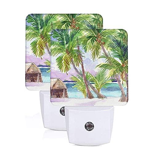 Beach Blue Exotic Night Light Juego de 2 luces nocturnas LED enchufables Lámpara con sensor automático del anochecer al amanecer para el dormitorio, el baño, la cocina, el pasillo, las escaleras