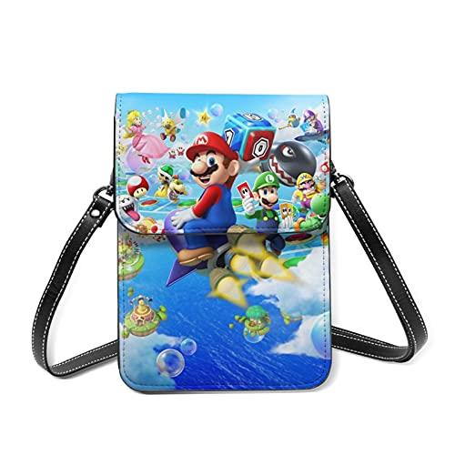 Game Super Mario Monedero de cuero Messenger Bag Small Wallet con ranura para tarjeta con correa de hombro desmontable Chica Lady Teen
