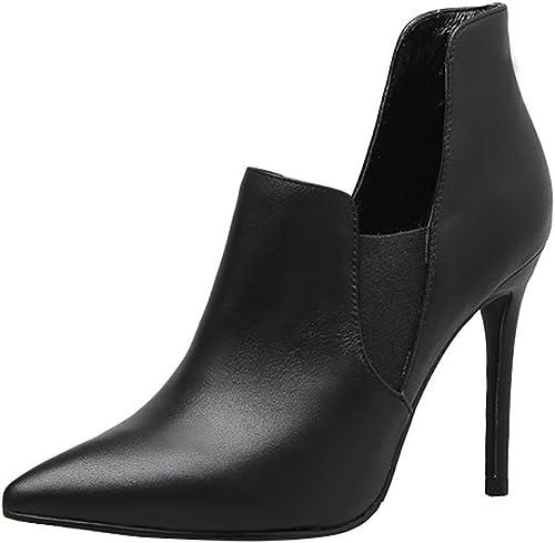 SYYAN Femmes Rétro PU Pointu élastique Pompe Cheville Bottes Noir Noir , noir , 36  le moins cher