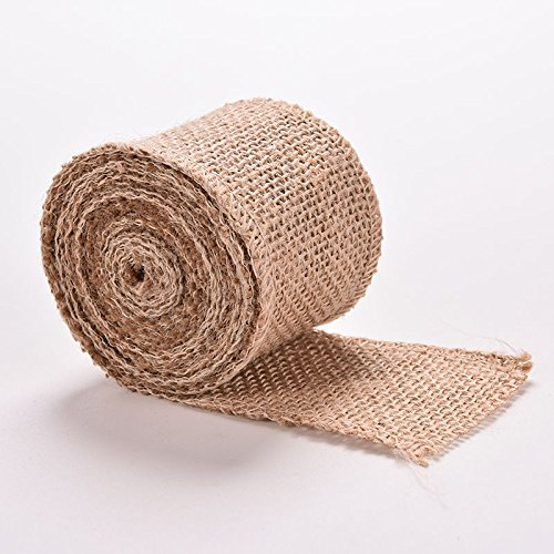2 Inch Wide Burlap Fabric Craft Ribbon,3M Long by Crqes