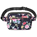 ZORFIN Fanny Pack for Women & Men Fashion Waterproof Waist bag Adjustable Belt Bag Hip Bum Bag for Traveling Running Hiking (Floral)