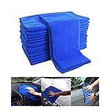 Grneric 6 Pezzi Panno in Microfibra per Auto Panni per Pulizia Multifunzionale Set Stracci Universali per Cura Auto e Moto o La Casa Pulizia, Blu (30 x 30cm)