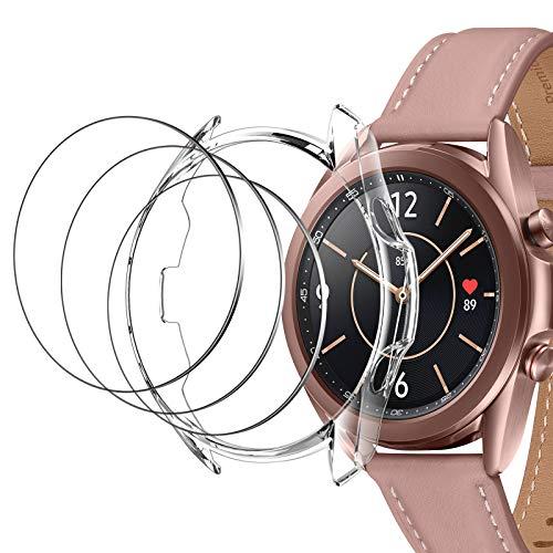 LK [3 Piezas Protector de Pantalla Compatible con Samsung Galaxy Watch 3 41mm [Doble protección, Alta Transparencia, antiarañazos]+ [1 Piezas] Samsung Galaxy Watch 3 41mm TPU Funda