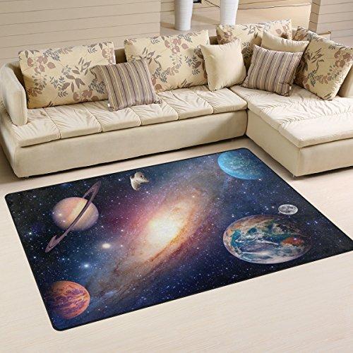 Use7 Universum Galaxy Weltraum Teppich Teppiche rutschfeste Bodenmatte Fußmatten Wohnzimmer Schlafzimmer 100 x 150 cm