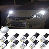 TUINCYN Blanc T10 168 2825 ampoules LED utilisé pour automobile Intérieur dôme Wedge lumières Lampes de lecture extérieur Side Marker ampoules Feux de plaque d'immatriculation 1800 lumens (lot de 10)
