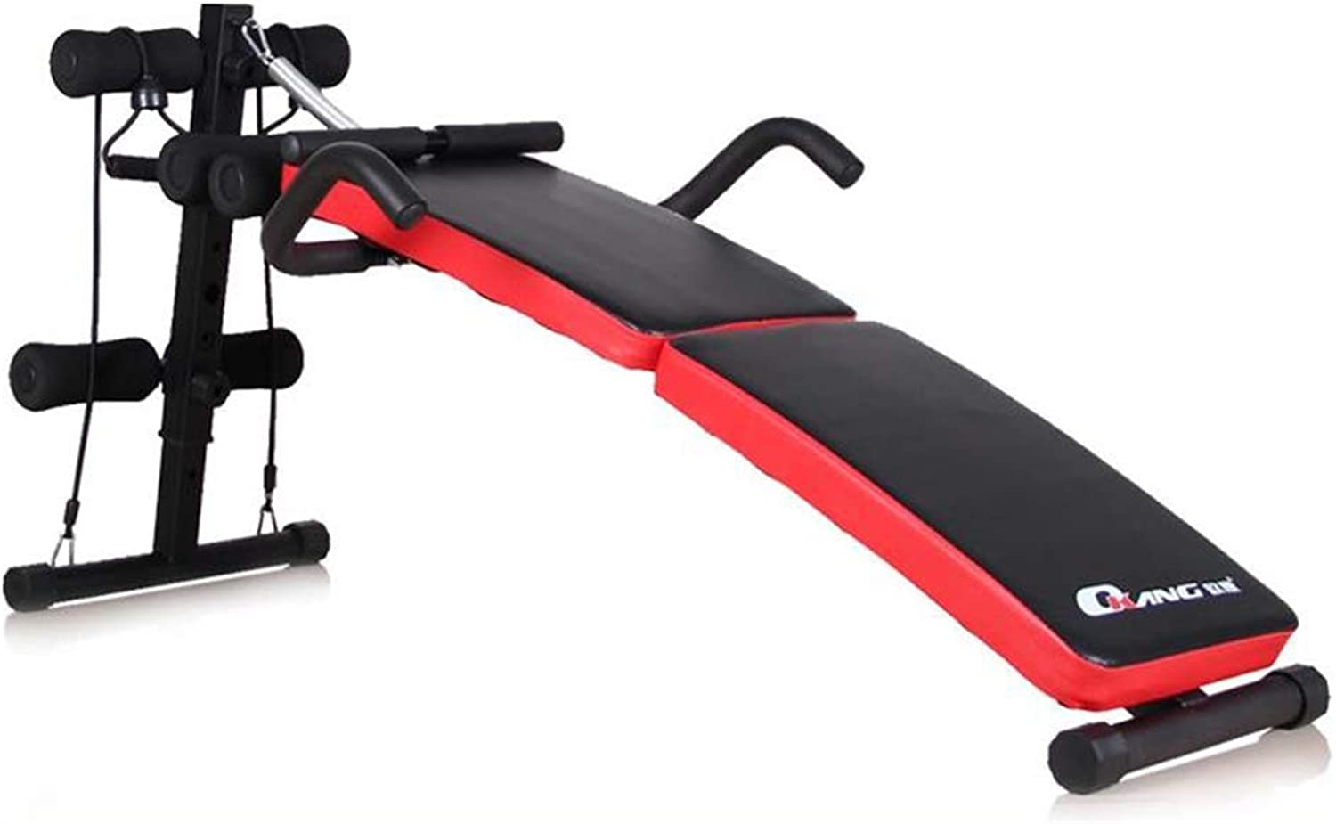 Abs AB Bench 6 in 1 Folding Multifunctional Trainer with Pulling Rope Widen Thickened Panel Handrail Design Assisted Exercise 5 Minutes Shaper Unisex