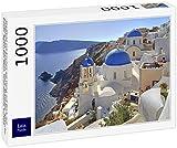 Lais Puzzle Paisaje Urbano con Iglesias en la Ladera con Vista a Caldera, Oia, Santorini, Thira, Cícladas, Islas del Egeo, Mar Egeo, Grecia, Europa 1000 Piezas