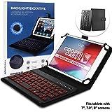 7-8 Zoll Tablet Hülle mit Tastatur, Cooper Backlight Executive 2-in-1 kabellose Bluetooth-Tastatur mit LED-Hintergr&beleuchtung, Leder, Reiseetui, Mappe, Standfuß, 7 Farben (Schwarz)