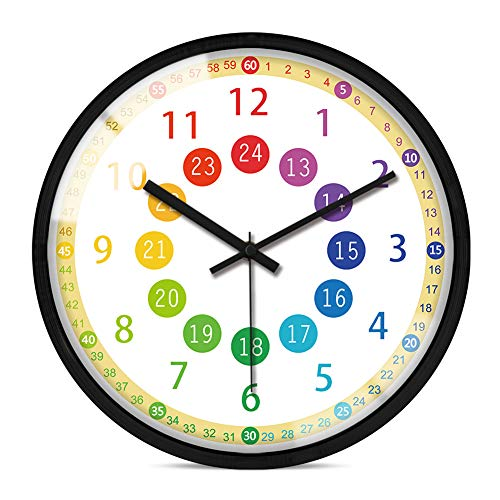 IPOUF Telling Time Teaching Clock Children Silent Wall Clock,for Kids Room, Classroom, Teachers and Parents(12inch, Black Frame)