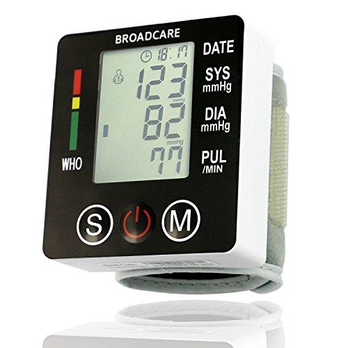 Tensiómetro de Muñeca BROADCARE, Tamaño de Manguito ajustable, Doble Memoria con capacidad para 99 lecturas cada una, Funcionamiento con batería recargable de Litio integrada