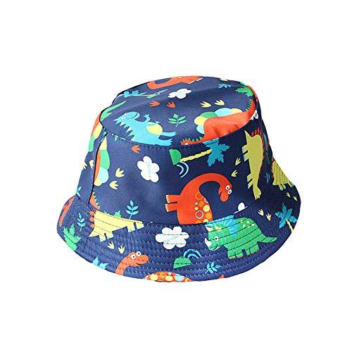 CHOSERL Sombrero de protección solar de dibujos animados para niños pequeños niñas ala ancha dinosaurio impresión bebé cubo sombreros gorra