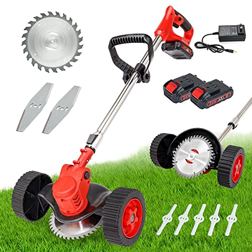 Cordless Grass Trimmer with 2 Wheel and 24V Lithium Battery Weed Eater Electric String Trimmer for Outdoor Yard