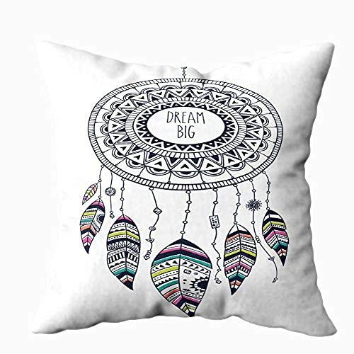 ZQLXD Fundas de almohada Decritivas, decorativas, cuadradas, 45 x 45 cm, colorido atrapasueños fondo abstracto plumas, tarjeta étnica, invitación, fiesta, saludo