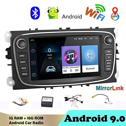 Estéreo para automóvil Bluetooth 2 DIN 7'Android 9.0 Reproductor Multimedia para autoRadio de automóvil WiFi Navegación GPS Autoradio para Fo/rd/Focus/S-MAX/Mondeo 9 / GalaxyC-MAX