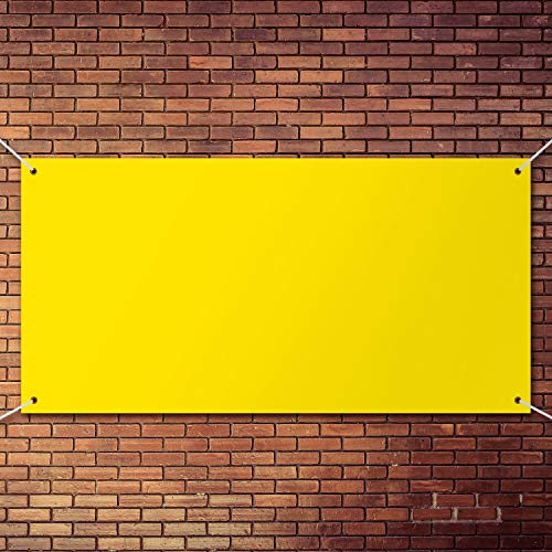 Large Banners and Signs Blank Parade Banner Yellow Blank Banner Decoration for Design Your Own Characters and Patterns Indoor Outdoor Display, 2 x 6 Feet
