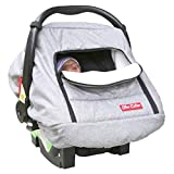 Sho Cute - Baby Car Seat Covers for Boys Girls   Quilted Polar Fleece Newborn Carrier Cover I Warm Infant Carseat Canopy for Spring Autumn Winter   Soft Grey Patented