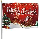Bandera de Navidad Bandera Decorativa de Patio Jardín Pueblo de Nieve Bandera de Trineo Papá Noel Vintage de Invierno de Vacación Bandera de Fibra Poliéster Interior Exterior, 3 x 5 Feet