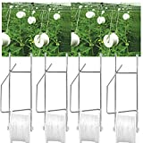 NUANNUAN 4 Pieces Tomato Support Hooks for Plants Garden Trellis Rollerhook Vegetable Planting Clamps, Greenhouse Flower Vine Twine Crop Clip Roller Hook 15m String Rope for Fruit Hanging Supply