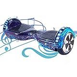 HST 6,5 Hoverboard mit 350W*2 Motorbeleuchtung RGB LED-Leuchten, Bluetooth-Lautsprecher, Self Balance Scooter, E Board Elektro, Skateboard Elektroroller mit Fernbedienung und Tasche (Blauer Himmel-N)