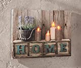 Dekoleidenschaft LED Bild Home, Leinwand mit Beleuchtung, flackernde Kerzen, Wanddeko, Leuchtbild