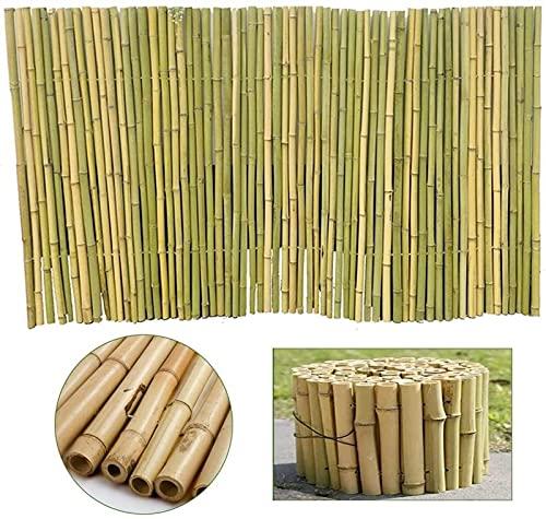 HAO KEAI Valla Bambú Natural Cercas Decorativas 100% Cerca de bambú Natural Jardín Pantalla de privacidad Sombra Pérgola Natural Mirada de Acero galvanizado Cubierta de Alambre de Acero Terraza