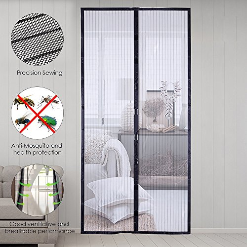 Porte Moustiquaire Moustiquaire Magn/étique Mailles ultra fine Aimants Fermeture Automatique pour Couloirs Portes Patio Rideau Anti Moustique Bogues Pas de Forage 90 x 210cm