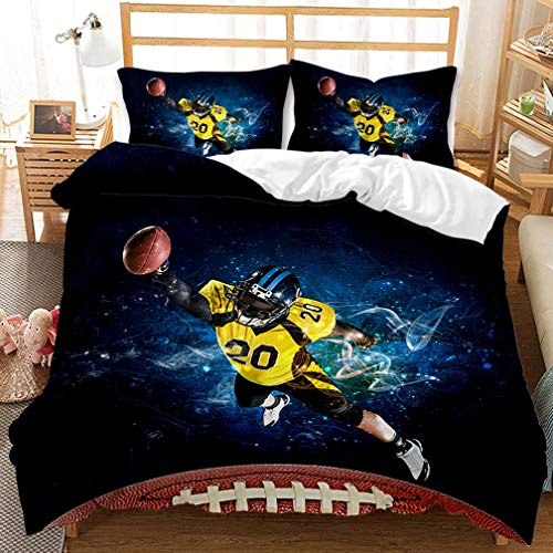 2020 New 3D Rugby Print Duvet Cover and Pillowcase Bedding Set for Children Boys Junior Single Double King Size, Microfibre bedding sets (M,200 x 200 cm)