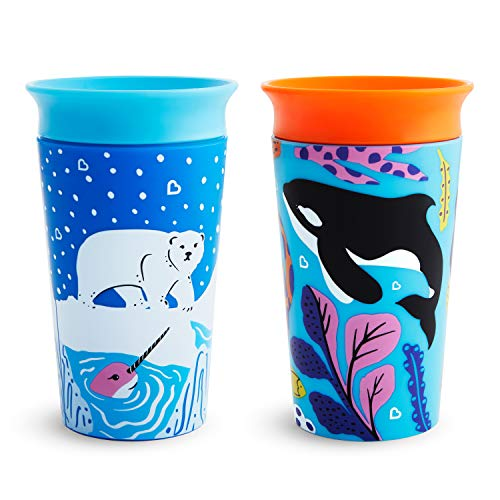 Munchkin Miracle 360˚ Wild Love Sippy Cup, 9 Ounce, 2 Pack, Polar Bear/Orca
