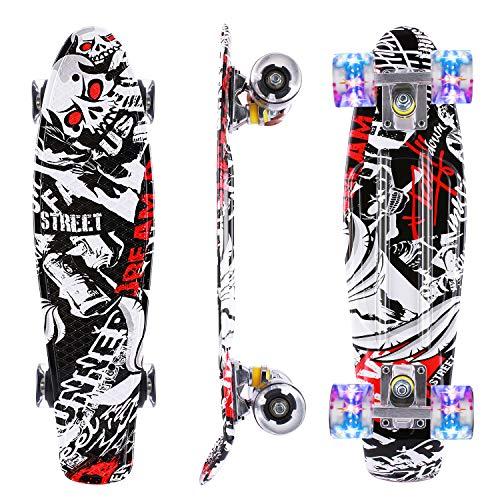 Caroma Skateboard per Principianti, Skateboard Mini Cruiser Completo da 22 Pollici con Ruote Illuminate a LED per Bambini Adolescenti Ragazze Ragazzi (Nero)