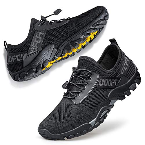 Ritiriko Unisex Traillaufschuhe Herren Barfußschuhe Fitnessschuhe Sneakers Damen Straßenlaufschuhe Atmungsaktiv Outdoor Fitness Schuhe Schwarz 36