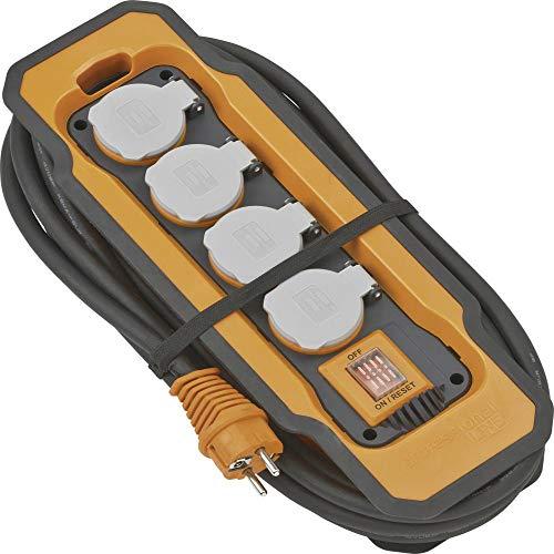 Brennenstuhl 9157450100 Steckdosenleiste mit Schalter 4fach Schwarz, Orange, Grau Schutzkontakt