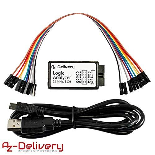 AZDelivery Logic Analyzer 8 CH, 24MHz mit USB-Kabel, kompatibel mit Arduino inklusive eBook!
